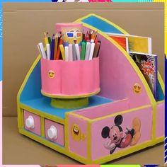 Manualities with recycled material organizer diy manualidades carton DIY IDEAS Diy Craft Projects, Diy Crafts Hacks, Diy Crafts For Gifts, Diy Home Crafts, Diy Arts And Crafts, Diy Crafts Videos, Creative Crafts, Fun Crafts, Diy Cardboard Furniture