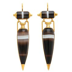Victorian Classical Revival Banded Agate and Gold Earrings. Victorian Classical Revival sardonyx (banded agate) amphora-form pendant earrings, set in a gold frame.   English, ca. 1890
