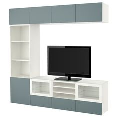 IKEA - BESTÅ, TV storage combination/glass doors, white/Valviken grey-turquoise clear glass, drawer runner, soft-closing, , The drawers and doors close silently and softly, thanks to the integrated soft-closing function.The top panel of tempered glass protects the TV bench top and gives it a glossy look.This TV storage combination has plenty of extra storage and makes it easy to keep your living room organised.The space-saving wall cabinets make the most of the wall area above your TV.It's…