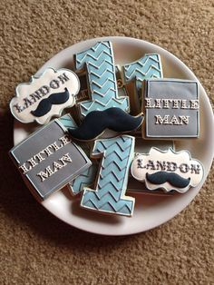 Little Man Mustache Cookies - love the font