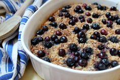 Cozy Baked Oatmeal - Might try apple pie filling for my family instead of the berries