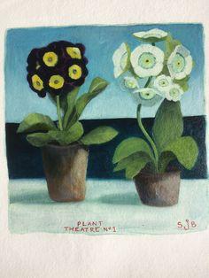 Oil on gessoed Khadi paper Plant Theatre, Rachel Grant, Sarah J, Art School, Painters, Flower Art, Still Life, Screen Printing, Flowers