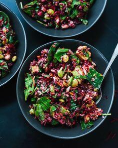 Quinoa salade met biet, wortel en spinazie...