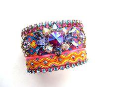 Swarovski embroidered friendship bracelet - friendship bracelet, swarovski cuff
