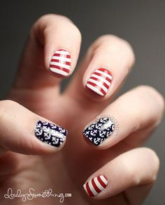 When it comes to women's nail art or manicures, there are numerous ways and themes to choose from. Star nail art, Hello Kitty nail art, zebra nail art, flower nail designs are a few examples among . Anchor Nail Art, Nautical Nail Art, Nautical Theme, Zebra Nail Art, Star Nail Art, Ongles Hello Kitty, Nail Art Designs, Nail Art Halloween, 4th Of July Nails