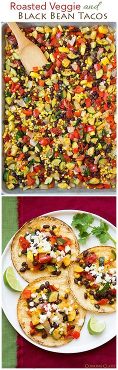 Roasted Veggie and Black Bean Tacos - These tacos are seriously delicious! My whole family loved them. meat loving husband included!