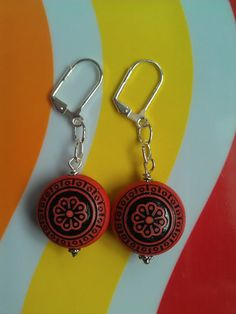 Vintage Lucite Black and Red Floral Beaded Lever-Back Silver-Plated Earrings ($22)