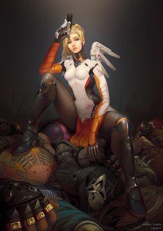 Overwatch Mercy fanart, Rodion Shaldo on ArtStation at https://www.artstation.com/artwork/BJaZr - More at https://pinterest.com/supergirlsart/