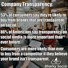 How can transparency affect your business? These stats are important to heed because consumer trust is paramount to success. People are also more likely now than ever to ditch brand loyalty for a brand they believe is more honest with them. Best Social Media Sites, Power Of Social Media, Management Tips, Loyalty, Believe In You, Insight, Trust, How To Become, Success