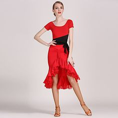 3cfd24214561 [$59.99] Latin Dance Outfits Women's Performance Tulle / Viscose Draping /  Ruffles Short Sleeves Natural Leotard / Onesie / Skirt