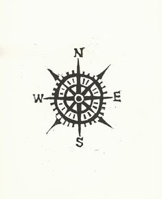Items similar to Compass linocut print - Cardinal directions letterpress nautical art poster in black on Etsy Simple Compass, Compass Rose, Compass Art, Neue Tattoos, Bild Tattoos, Cool Tattoos, Tatoos, Awesome Tattoos, Pretty Tattoos