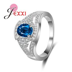 JEXXI Newest Elegant High Quality Blue Oval CZ Finger Rings 925 Sterling Silver Women Wedding Ring Jewelry Wholesale Engagement Jewelry, Wedding Engagement, Blue Crystals, Stones And Crystals, Blue Rings, Silver Rings, Beautiful Gold Rings, Jewelry Roll, Wholesale Silver Jewelry