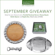 One lucky winner will receive a Football Sectional Server, Cheese Board, Bottle Opener and Napkin Box.  (Retail Value $358).  Ends September 30, 2014