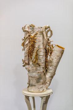 "Sculpter GINA PICCIRILLI HAYDEN's  stunning Cassandras Trance 24"" tall ceramic vase with gold luster.  Winner of the Mollie and Albert Jacobson Sculpture Award."