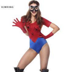Kimring Sexy Spiderman Halloween Costume for Women Superwoman Heroine Costume Carnival Fantasias Bodysuit Cosplay Adult Costumes
