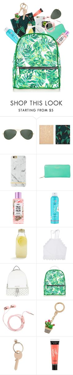 """""""What's in my backpack"""" by sarahfohlen ❤ liked on Polyvore featuring Ray-Ban, Idlewild Co., Richmond & Finch, Kate Spade, COOLA Suncare, Bormioli Rocco, Front Row Shop, MICHAEL Michael Kors, Maison Margiela and Victoria's Secret"""