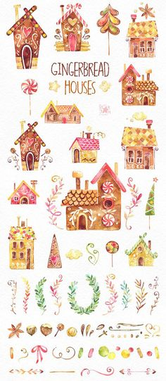 This Gingerbread Houses clipart set is just what you needed for the perfect invitations, craft projects, paper products, party decorations, printable, greetings cards, posters, stationery, scrapbooking, stickers, t-shirts, baby clothes, web designs and much more. ::::: DETAILS ::::: This collection includes : - 67 Images in separate PNG files, transparent background 300 dpi RGB ::::: TERMS OF USE ::::: ► Personal or non-profit You can use our artworks on personal or non-profit projects ...