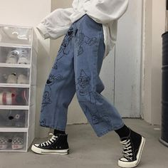 Sesame street cartoon printed blue loose straight jeans - no - Aesthetic Fashion, Aesthetic Clothes, Look Fashion, 90s Fashion, Korean Fashion, Fashion Outfits, Angel Aesthetic, Blue Aesthetic, Aesthetic Clothing Stores