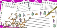 The Twits Page Borders - page borders, the twits, roald dahl Roald Dahl Activities, Book Activities, Kids Writing, Writing Paper, Roald Dalh, Book Report Projects, The Twits, Story Sack, School Fair