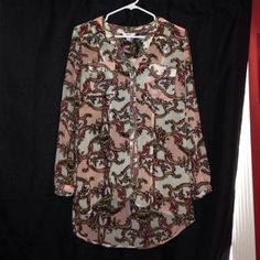 Chiffon Button Down Designer Style High Low Blouse Size medium perfect condition Candie's Tops