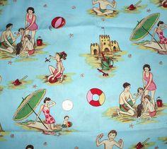 Retro Beach Fabric | Fun Retro Beach Nostalgia Print Fabric 50's 60's by lilmatchgirl