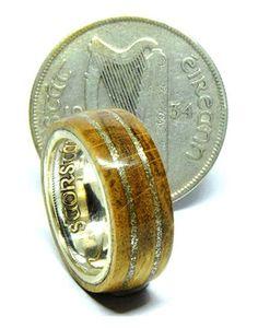 Irish coin ring with Irish Jamason Irish whiskey barrel wood