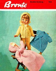 Items similar to PDF Vintage Dolls Clothes Premature Baby Knitting Pattern Dress Bunting Sleeping Bag Matinee Pram Set Tiny Tears Roddy Pedigree Bronte 764 on Etsy Knitting Dolls Clothes, Baby Doll Clothes, Knitted Dolls, Baby Dolls, Baby Knitting Patterns, Baby Patterns, Crochet Patterns, Pram Sets, Baby Teddy Bear