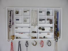 Large jewelry Organizer display in white with  gold/silver hooks-Earrings,necklaces,bracelets holder -Wall mounted - Handmade