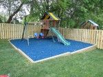 Rubber mulch in a backyard playground