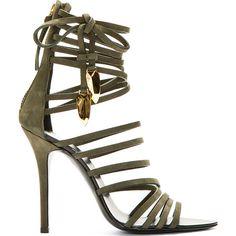 Giuseppe Zanotti Olive Nubuck Gladiator Heels ($1,195) ❤ liked on Polyvore featuring shoes, sandals, heels, giuseppe zanotti, strappy sandals, strappy heeled sandals, high heel high tops, high top shoes and strappy high heel sandals
