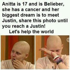 I'm not a belieber but I want to help make this girl's dream come true. Pass the word!She deserves to have her dreams turn into reality! COME ON GUYS! SPREAD THE WOOOORD!!!