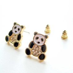$4 Panda Animal Stud Earrings with Rhinestone Details in Black and White on Gold