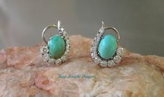 Statement turquoise and diamond earrings by Kay Knight. $2,975.00, via Etsy.