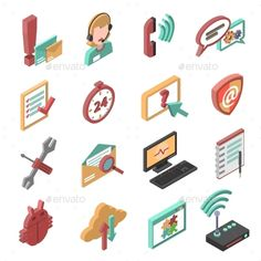 Support Isometric Icons Set by macrovector Telephone and internet technical support isometric icons set isolated vector illustration. Editable EPS and Render in JPG format