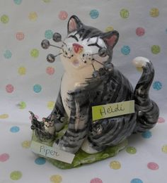 """""""Heidi & baby Piper"""" Mother's day Grey Tabby WhimsiClay Cat figurines, adorable! #WhimsiClay"""