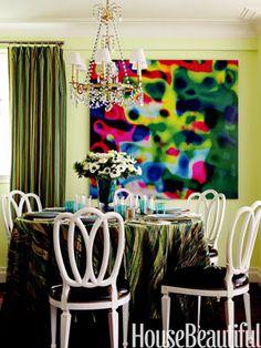 Green dining with fun art
