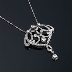 William Noble | Estate Jewelry | Necklaces | Edwardian Diamond Necklace, set in platinum and gold.