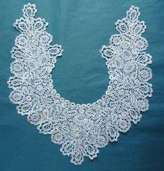 Pretty Antique Vintage Honiton Lace Dress Front Collar | eBay