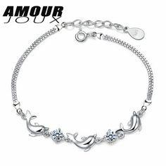 AMOURJOUX Cute Dolphin Shaped Shiny White/Purple Zircon Silver Plated Charm Bracelets For Women Jewelry Woman's Bracelet #Affiliate