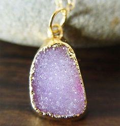 Lilac amethyst druzy Necklace by friedasophie on Etsy