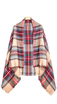 Get warm this fall and winter with a red classic plaid fringe scarf