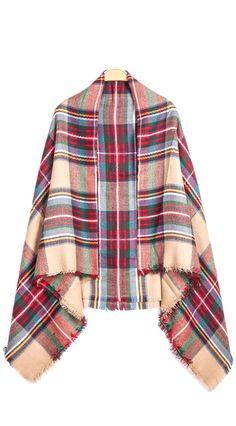 plaid fringe scarf
