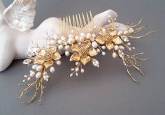 Gold pearl comb Swarovski crystals and pearls comb by ZTetyana