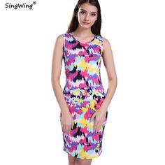 572ddc962828 Spring Summer Women Casual Dress Fashion Sexy Beach O-neck Sleeveless  Floral Splash Printed Celeb