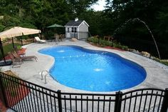 View our Mountain Pond Inground Pool Gallery. Juliano's Pools can help you with your pool project, we serve Western Massachusetts, Connecticut, and Rhode Island Swimming Pool Slides, Swimming Pools Backyard, Pool Decks, Pool Landscaping, Vinyl Pools Inground, Courtyard Pool, Rectangular Pool, Backyard Pool Designs, Fiberglass Pools