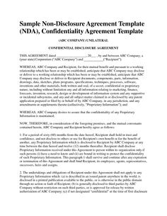 Business Non Disclosure Agreement Business Confidentiality Agreement Sample.  Non Disclosure .