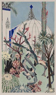 Woodblock print - Cressida Campbell - Cactii, Botanic Gardens Adelaide 1987