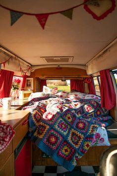 Interior of our 1973 campervan, Ethel