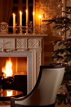 Christmas tree with fireplace and candles