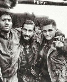 """John Bernthal, Shia LaBeouf and Logan Lerman behind the scenes of Fury (2014), David Ayer"""